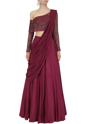 Red Wine Hand Embroidered Lehenga Set