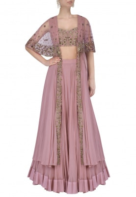 Lilac Floral Hand Embroidred Lehenga With Long Cape Set