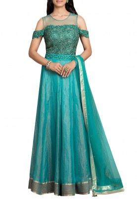 Emerald Green Anarkali Dupatta Dress