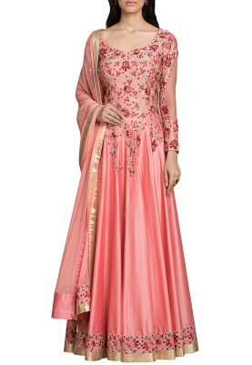 Peach Anarkali Dupatta Dress