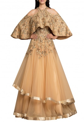Gold Embroidered Gown with Cape and Double Layer Flare