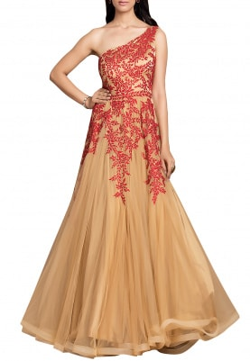 Red Rose Embroidered Gold Gown