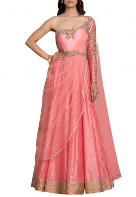 Sorbet Pink Anarkali with Draped Dupatta