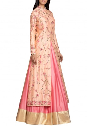 Pastel Peach and Peach Lehenga & Jacket Set