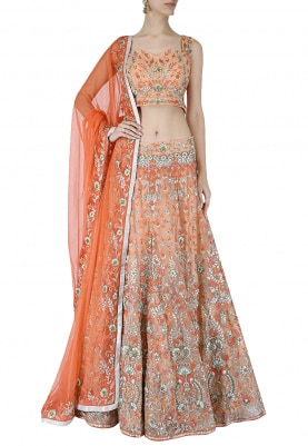 Peach Lehenga & Choli Set