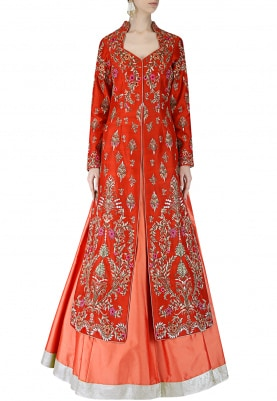 Cherry Red Jacket and Lehenga Set