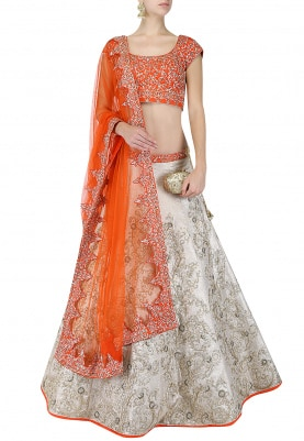 Gold Orange Lehenga Choli Set