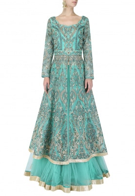 Aqua Green Jacket & Lehenga Set