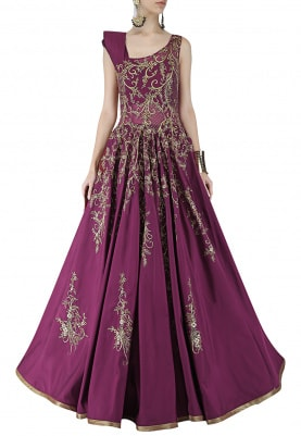Red Wine Structured Shoulder Gown