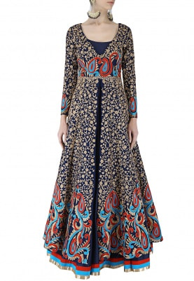 Mid-Night Blue Anarkali Jacket With Lehenga