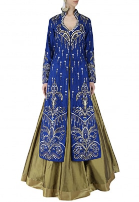 Royal Blue Jacket and Lehenga Set