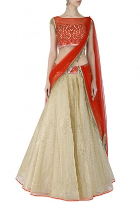 Gold Lehenga With Red Blouse and Dupatta