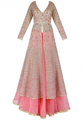 Pink Anarkali Jacket With Lehenga