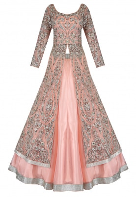 Peach Jacket With Lehenga