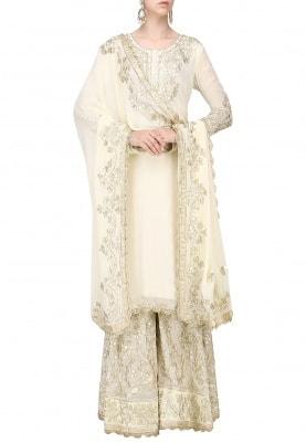 Ivory Kurta Gota Patti Work with Sharara & Dupatta
