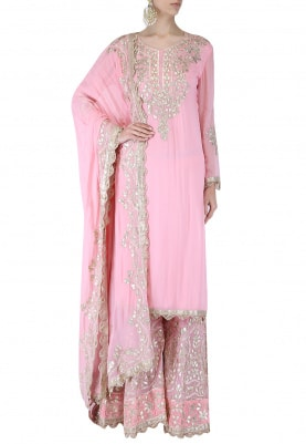 Pink Kurta Gota Patti Work with Sharara and Dupatta