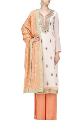 Ivory Kurta Gota Patti Work with & Plazo Dupatta