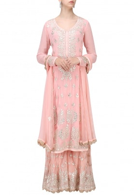 Pink Anarkali Gota Patti Work with Sharara & Dupatta