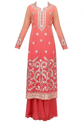 Coral Kurta Gota Patti Work with Sharara and Dupatta