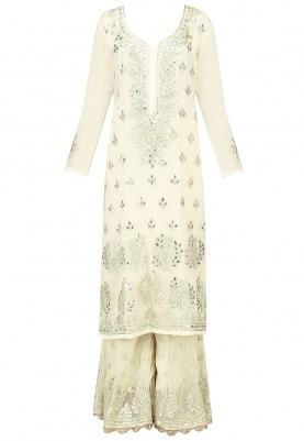 Ivory Kurta Gota Patti Work with Sharara and Dupatta