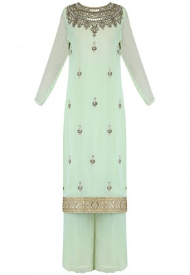 Aqua Green Gota Patti Work with Plazo and Dupatta