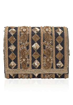 Midnight Blue and Antique Gold Embroidered Flapover Clutch