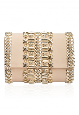 Nude Peach and Gold Metallic Belt Flapover Clutch