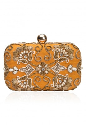 Yellow Gold Zardozi and Pearl Embroidered Clutch