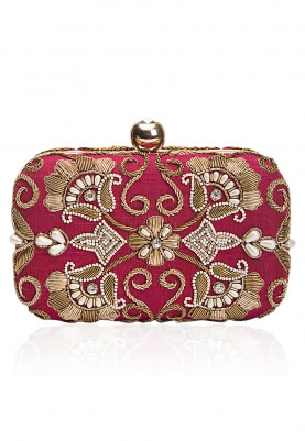 Wine and Gold Zardozi and Pearl Embroidered Clutch