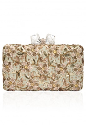 Ivory Floral Beads and Zardozi Work Box Clutch
