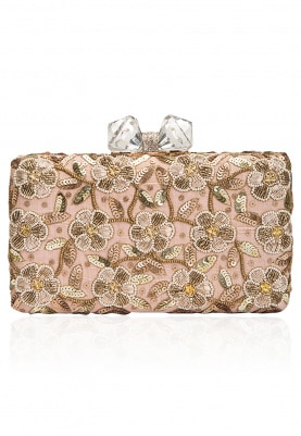 Mint Green Floral Beads and Zardozi Work Box Clutch