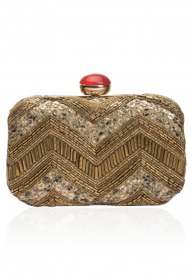 Off White and Gold Zig Zag Pattern Embroidered Box Clutch