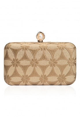 Gold Leather Cut Work Rectangular Box Clutch
