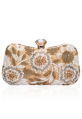Ivory and Gold Cutdana and Beads Box Clutch