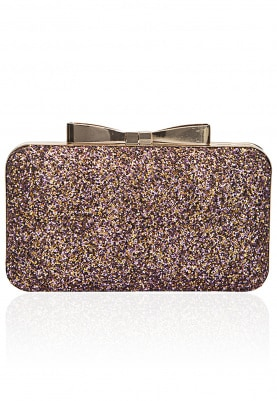 Pink and Gold Glitter Box Clutch