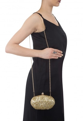 Gold and Zardozi Sequins Embroidered Box Clutch