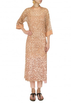 Beige Sequins Embroidered Kurta with Pants Set