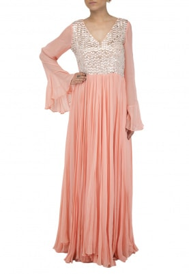 Peach Embroidered Pleated Maxi Dress