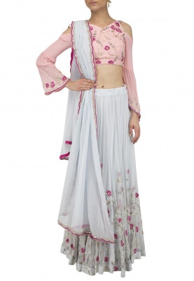 Powder Blue and Pink Thread and Pearls Embroidered Lehenga Set