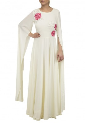 White Cape Sleeves Maxi Dress