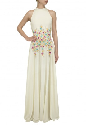 White Floral Embroidered Gown