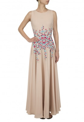 Beige Floral Embroidered Gown