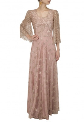 Light Pink Flared Sleeves Gown