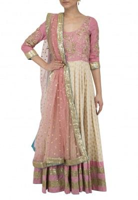 Light Pink and Beige Embroidered Anarkali Set
