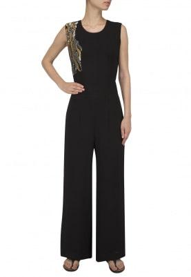 Black Sequins Work Jumpsuit