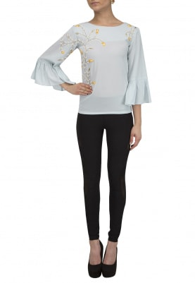 Powder Blue Flared Sleeves Top