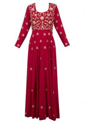 Deep Red Zardozi Embroidered Anarkali Set