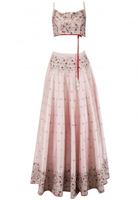 Pink Cutdana and Sequins Embroidered Lehenga Set