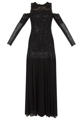 Black Embroidered Organza Anarkali Gown