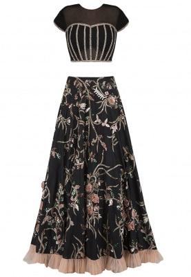 Black and Peach Embroidered Lehenga Set